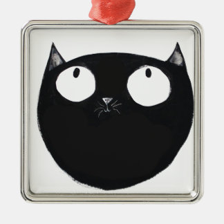 Lucky Black Cat Silver-Colored Square Decoration