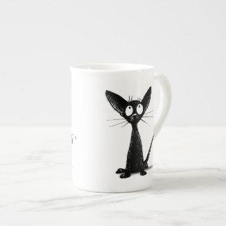 Lucky Black Cat Bone China Mugs