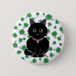 Lucky Black Cat Zelda Clover Button