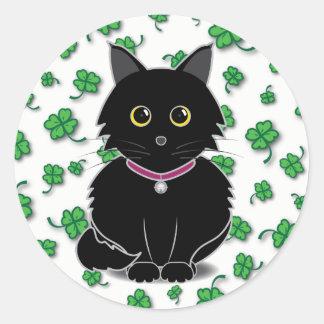 Lucky Black Cat Zelda Clover Sticker