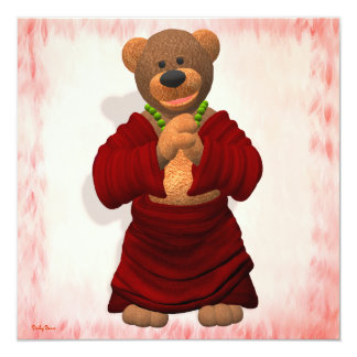 Lucky Buddha Bear 13 Cm X 13 Cm Square Invitation Card