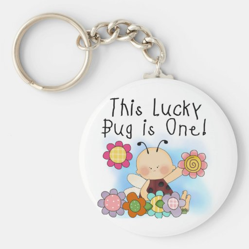 Lucky Bug 1st Birthday T-shirts and Gifts Key Chain