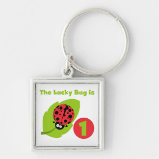 Lucky  Bug 1st Birthday T-shirts and Gifts Silver-Colored Square Key Ring