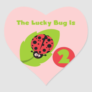Lucky Bug 2nd Birthday T-shirts and Gifts Heart Sticker