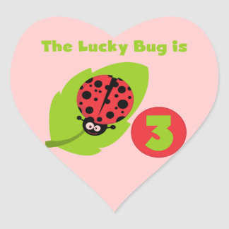 Lucky Bug 3rd Birthday T shirts and Gifts Heart Sticker