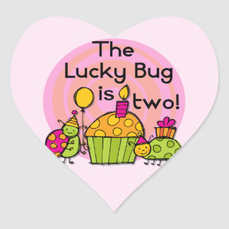 Lucky Bug Cupcake 2nd Birthday T-shirts and Gifts Sticker