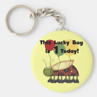 Lucky Bug is One Birthday Tshirts and Gifts Basic Round Button Key Ring