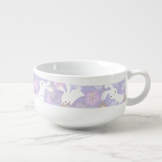 Lucky Bunnies Brushstroke Soup Bowl (lavender)