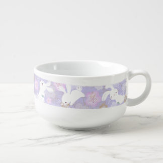 Lucky Bunnies Brushstroke Soup Bowl (lavender) Soup Bowl With Handle