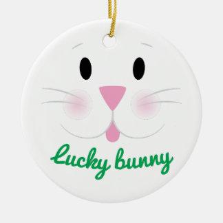 Lucky Bunny Round Ceramic Decoration