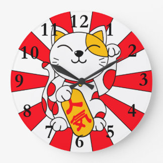 Lucky Cat (A) Large Clock