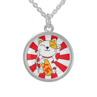 Lucky Cat (A) Round Pendant Necklace