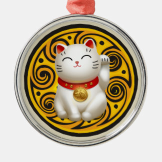 Lucky Cat Artwork Silver-Colored Round Decoration