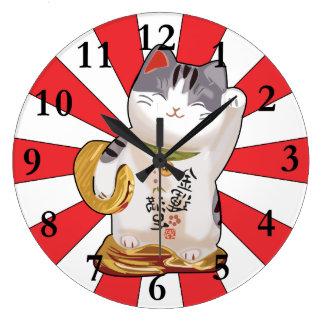 Lucky Cat B Large Clock