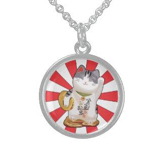 Lucky Cat B Sterling Silver Necklace