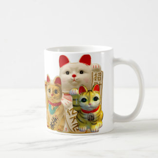 Lucky Cat Japanese Good Luck Waving Cats Group Coffee Mug