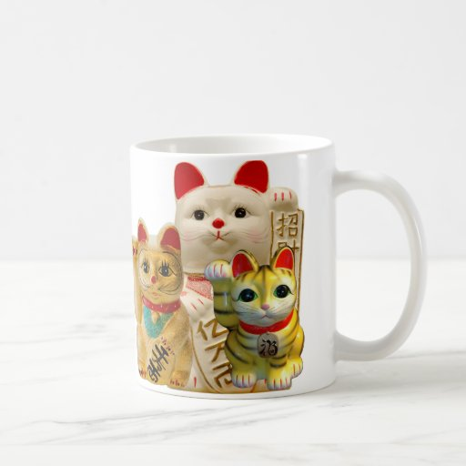 Lucky Cat Japanese Good Luck Waving Cats Group Coffee Mugs