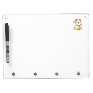 Lucky Cat (Makeni Neko) Dry Erase Board With Key Ring Holder
