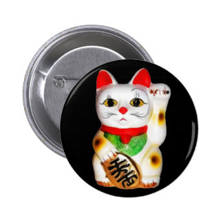 Lucky Cat Maneki Neko 6 Cm Round Badge