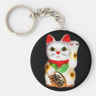 Lucky Cat Maneki Neko Basic Round Button Key Ring
