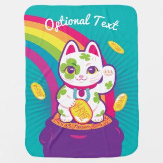 Lucky Cat Maneki Neko Good Luck Pot of Gold Baby Blanket