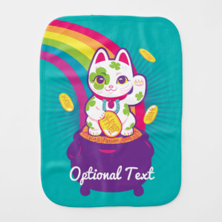Lucky Cat Maneki Neko Good Luck Pot of Gold Burp Cloth