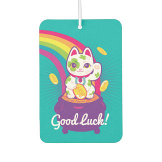 Lucky Cat Maneki Neko Good Luck Pot of Gold Car Air Freshener