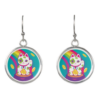 Lucky Cat Maneki Neko Good Luck Pot of Gold Earrings