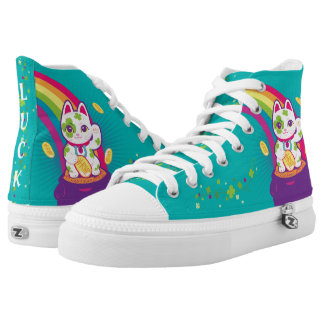 Lucky Cat Maneki Neko Good Luck Pot of Gold High Tops