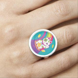 Lucky Cat Maneki Neko Good Luck Pot of Gold Ring