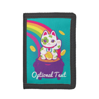 Lucky Cat Maneki Neko Good Luck Pot of Gold Trifold Wallet