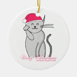 Lucky Cat Merry Christmas & plenty of good fortune Round Ceramic Decoration