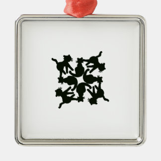 lucky cat pattern,cat picture art Silver-Colored square decoration