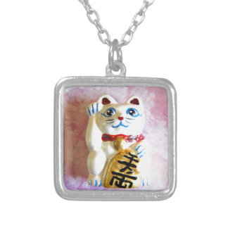 Lucky Cat Square Pendant Necklace