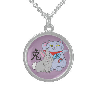 Lucky Cat Year of the Rabbit Round Pendant Necklace