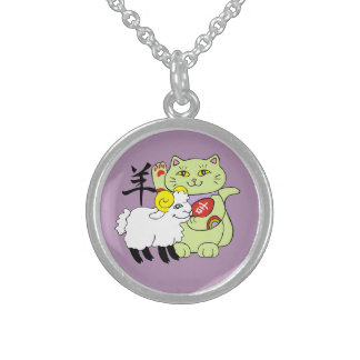 Lucky Cat Year of the Sheep Round Pendant Necklace