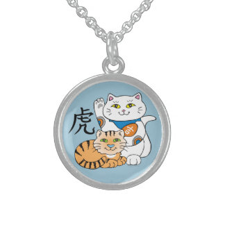 Lucky Cat Year of the Tiger Sterling Silver Necklace
