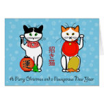 Lucky cats Christmas card