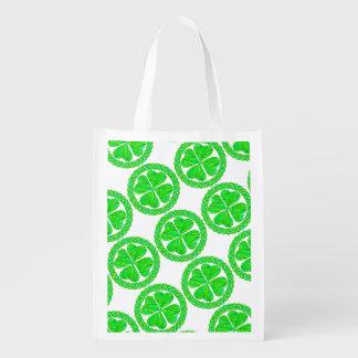 Lucky Celtic Shamrock 4 Leaf Clover Eco Friendly Reusable Grocery Bag