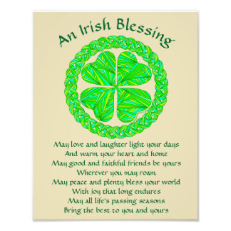 Lucky Celtic Shamrock 4 Leaf Clover Irish Blessing Photo