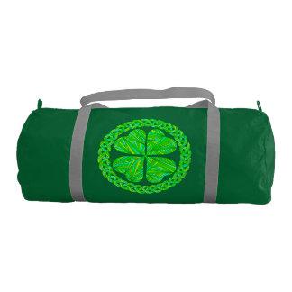 Lucky Celtic Shamrock Four Leaf Clover Green Irish Gym Duffel Bag