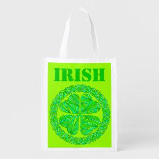 Lucky Celtic Shamrock Irish 4 Leaf Clover Reusable Market Tote