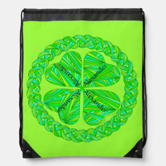 Lucky Celtic Shamrock Personalized String Backpack