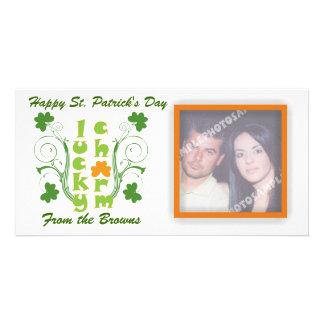 Lucky charm clover shamrock swirls customised photo card