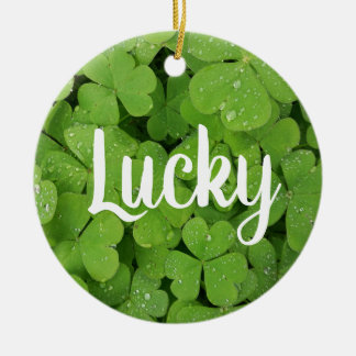 Lucky charm green natural  clover circle ornament. christmas ornament