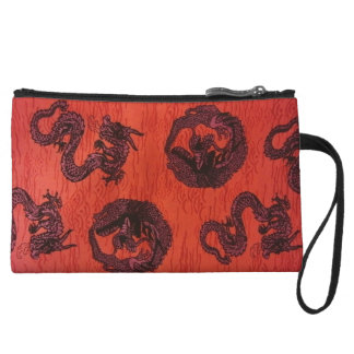 Lucky Chinese Dragons Wristlet Clutch