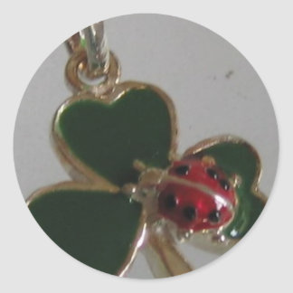 lucky clover and ladybird classic round sticker