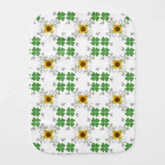 Lucky clover , Clover with Sunflower Calla Lily Burp Cloth