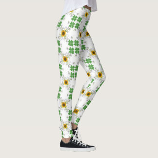 Lucky clover , Clover with Sunflower Calla Lily Leggings