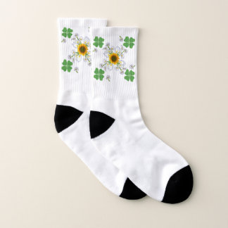 Lucky clover , Clover with Sunflower Calla Lily Socks